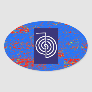 CHOKUREI  Reiki Basic Healing Symbol TEMPLATE gift Oval Sticker