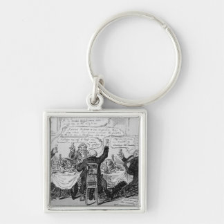 Cholera Consultation at Central Board of Silver-Colored Square Keychain