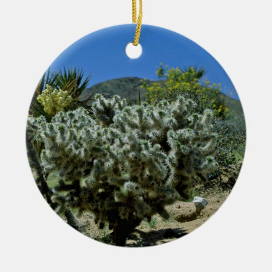 Cholla Cactus And Flowering Yucca flowers Ceramic Ornament