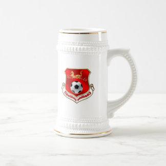 Chollima demasiado rápido montar fútbol norcoreano jarra de cerveza