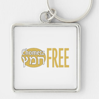 Chometz Free Silver-Colored Square Keychain