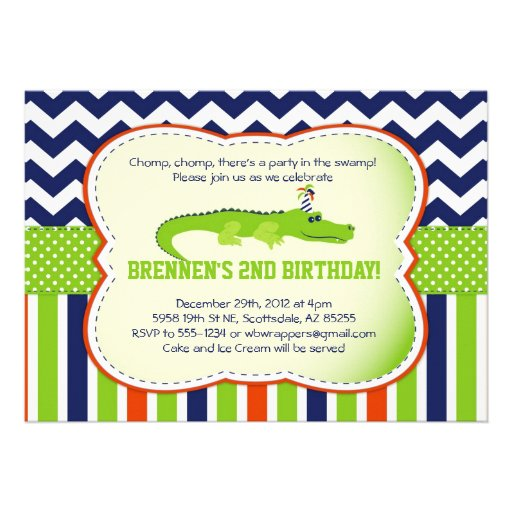 Chomp Chomp!  Alligator-Themed Party Invitations