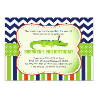 "Chomp Chomp!  Alligator-Themed Party Invitations 5"" X 7"" Invitation Card"