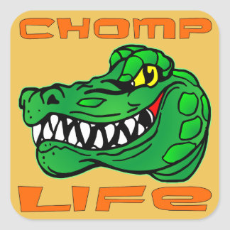 Chomp Life Gator Square Sticker