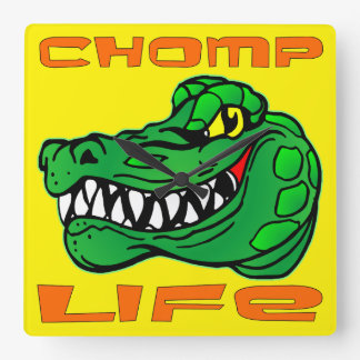 Chomp Life Gator Square Wall Clock