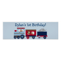 Choo Choo Animal Train Birthday Banner Sign Poster