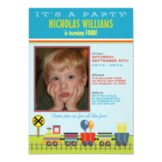 Choo Choo Aqua Child's Birthday Party Invitation