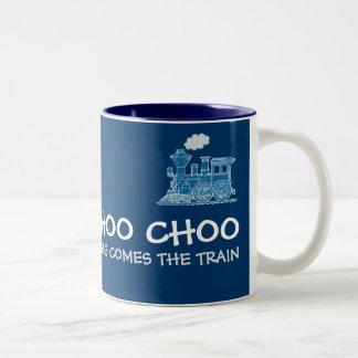 """Choo Choo aquí viene taza azul del tren"""