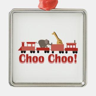 Choo Choo Circus Square Metal Christmas Ornament