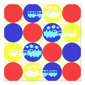 Choo Choo Dots Birthday Party Invitation
