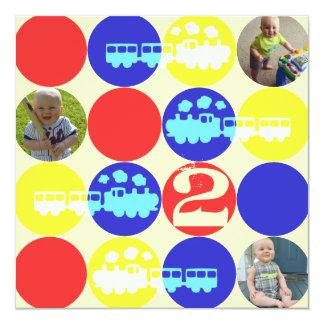 Choo Choo Dots Birthday Party Photo Invitation