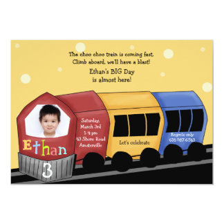 Choo Choo Express - Photo Birthday Party  Invitati 5x7 Paper Invitation Card