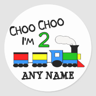 Choo Choo I'm 2!  With TRAIN Classic Round Sticker