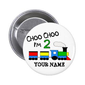 Choo Choo I'm 2!  With TRAIN Pinback Button