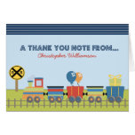 Choo Choo Kids Thank-You Card (blue)