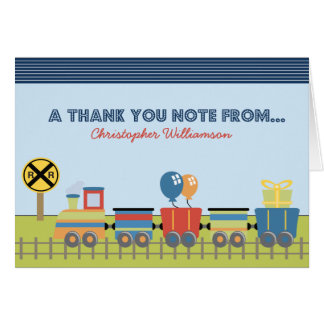 Choo Choo Kids Thank-You Card (blue)