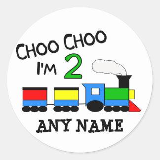 ¡Choo Choo soy 2!  Con el TREN Pegatina Redonda