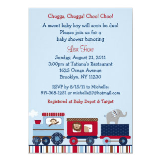 Choo Choo Train Animal Baby Shower Invitations