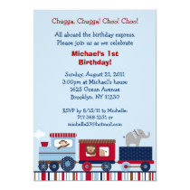 Choo Choo Train Animal Birthday Invitations
