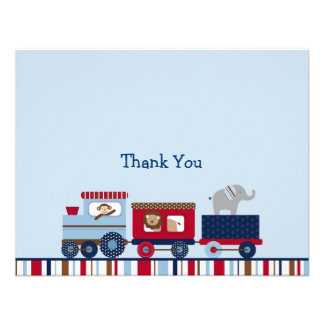 Choo Choo Train Animal Thank You Note Cards Personalized Invitations