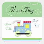 Choo Choo Train Baby Boy Square Sticker