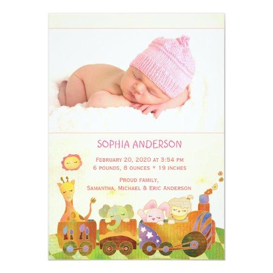 Choo Choo Train Baby Girl Photo Birth Announcement