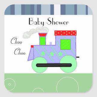 Choo Choo Train Baby Shower Square Sticker
