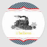 choo choo train birthday boy Winter Christmas Classic Round Sticker