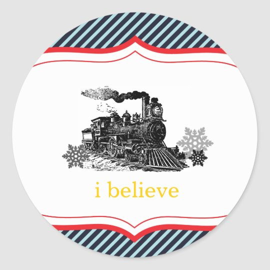 choo choo train birthday boy Winter Christmas Classic Round Sticker