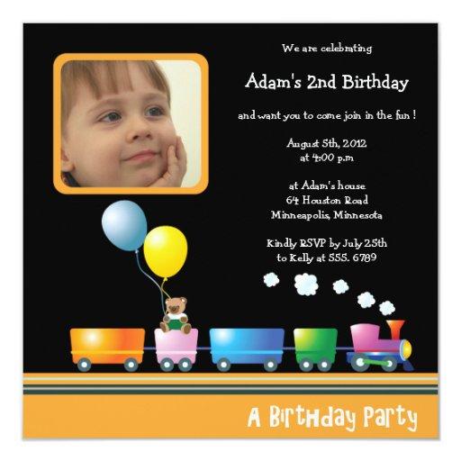 "Choo Choo Train - Birthday party invitation 5.25"" Square Invitation Card"