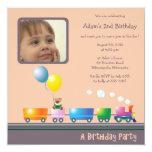 "Choo Choo Train - Birthday party invitation(brown) 5.25"" Square Invitation Card"