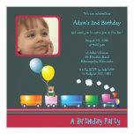 "Choo Choo Train - Birthday party invitation(dark) 5.25"" Square Invitation Card"