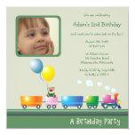 "Choo Choo Train - Birthday party invitation(green) 5.25"" Square Invitation Card"