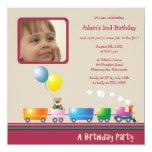 "Choo Choo Train - Birthday party invitation(red) 5.25"" Square Invitation Card"