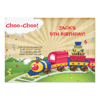 Choo-Choo Train Birthday Party Invitations