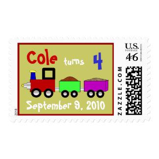 Choo choo train birthday postage stamp
