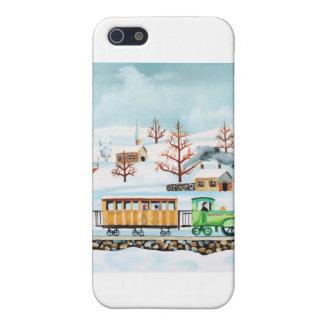 Choo choo train folk art winter scene case for iPhone SE/5/5s
