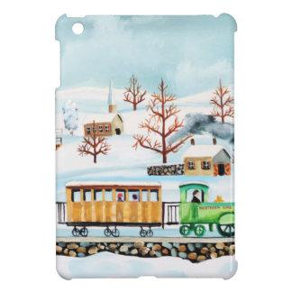 Choo choo train folk art winter scene cover for the iPad mini