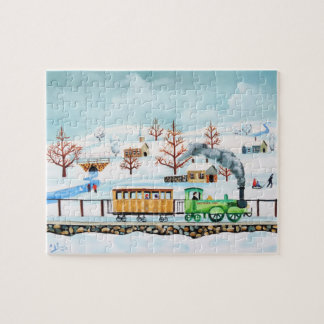 Choo choo train folk art winter scene jigsaw puzzle