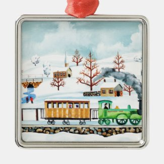 Choo choo train folk art winter scene metal ornament