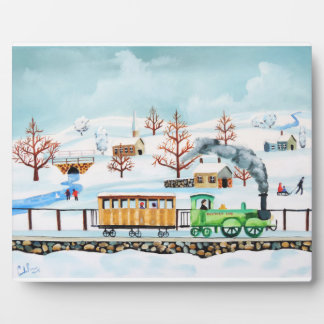 Choo choo train folk art winter scene plaque