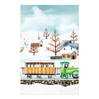 Choo choo train folk art winter scene stationery