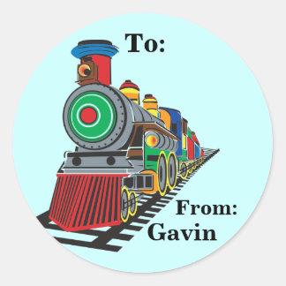Choo Choo Train Gift Label Classic Round Sticker