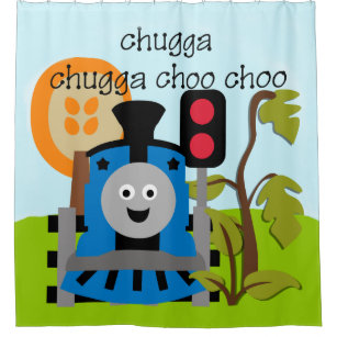 Choo Train Kids Transportation Locomotive Shower Curtain