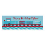 Choo Choo Train Personalized Birthday Banner Poster