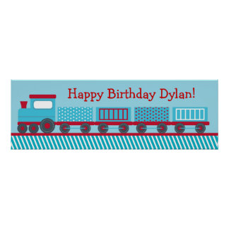Choo Choo Train Personalized Birthday Banner Poster