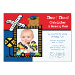 Choo Choo Train Photo Birthday Invitation