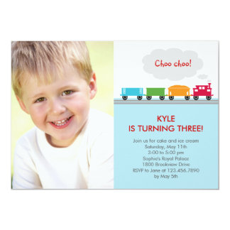Choo Choo Train Photo Birthday Invitation