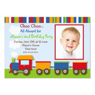 Choo choo invitations announcements zazzle choo choo train photo birthday party invitations filmwisefo