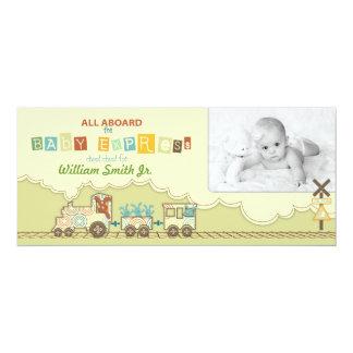 Choo Choo Train Tall Announcement Card